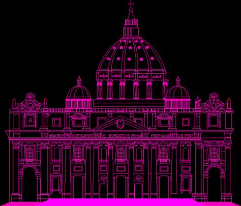 st peters basilica facade dwg detail  autocad