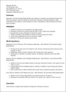 Resume Sle Of Real Estate Professional Commercial Real Estate Broker Templates To