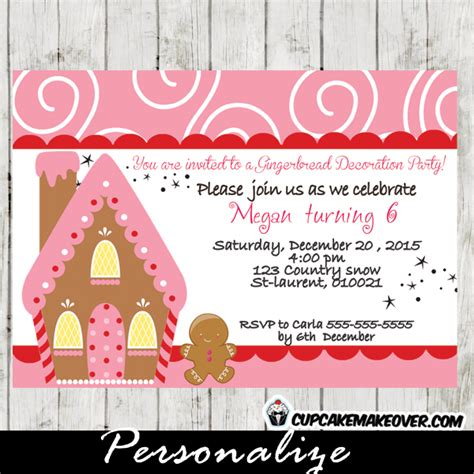 printable gingerbread house invitations gingerbread house decorating party invitation