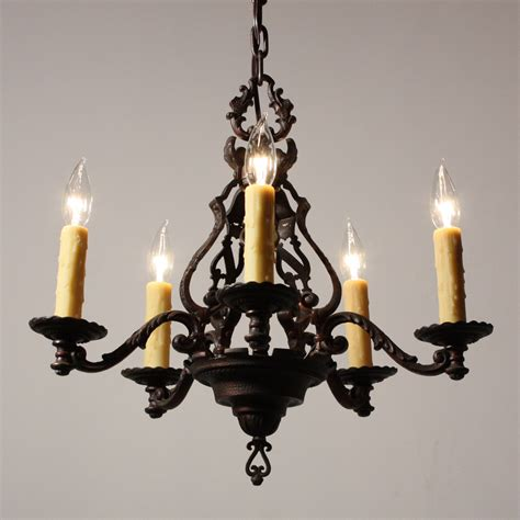 Antique Iron Chandelier Magnificent Antique Figural Five Light Chandelier Cast Iron Early 1900s Nc1513 For Sale