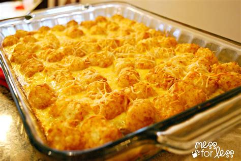 tater tot casserole food fun friday mess for less