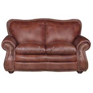 mckinney 67 quot brown leather loveseat