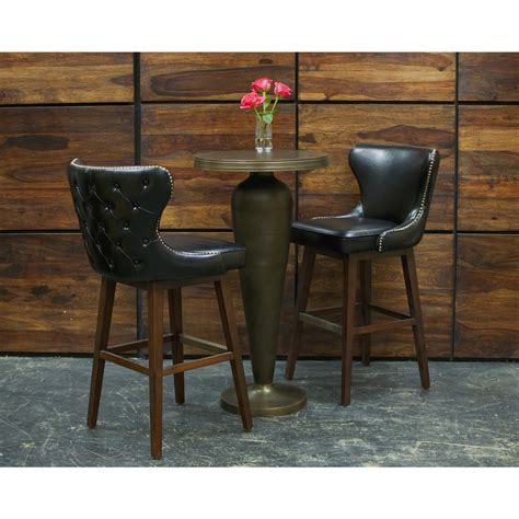 Black Leather Swivel Counter Stools by Dancy Masculine Black Leather Tufted Swivel