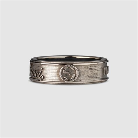 gucci wide ring with trademark in metallic lyst
