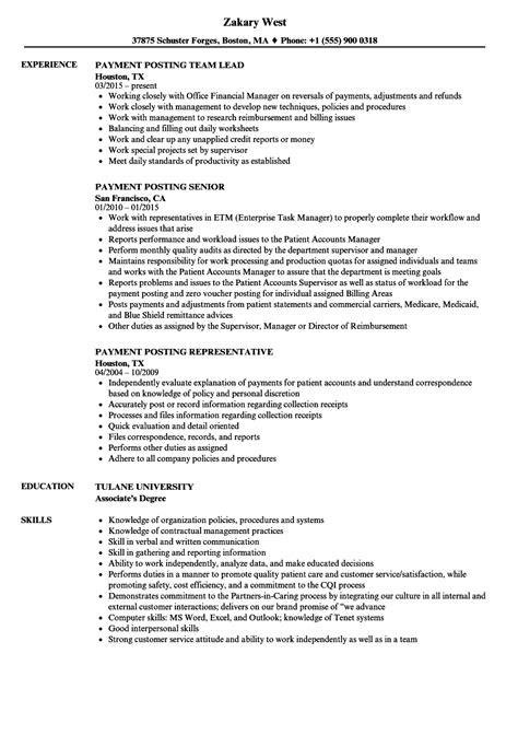 payment posting resume sles velvet