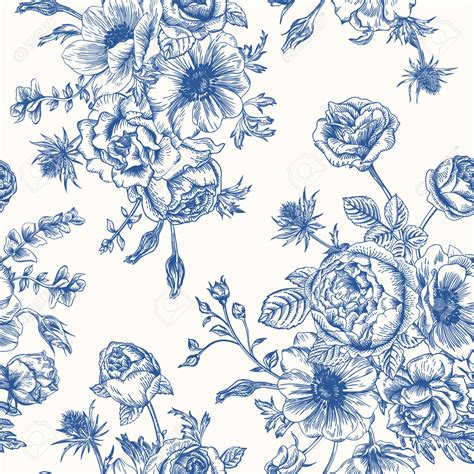 floral pattern in blue blue flower clipart flower pattern pencil and in color