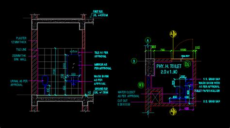 toilet layout dwg working drawing of handicap toilet dwg detail for autocad
