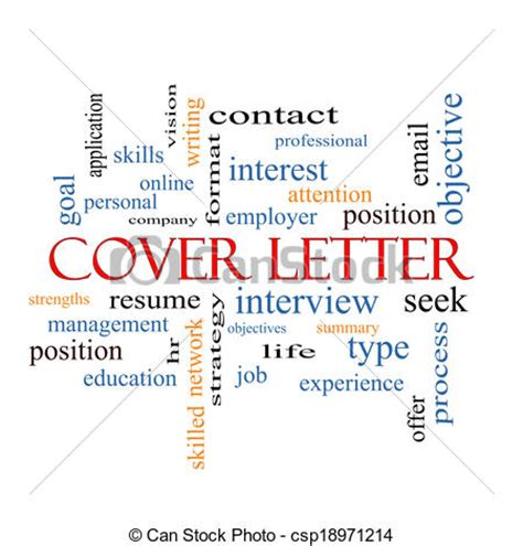 Clipart of Cover Letter Word Cloud Concept with great