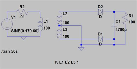 ac of electronics center tapped transformer efficiency and current question ltspice