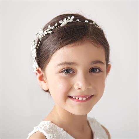 2015 Elegant White Baby Hair Princess Crown Accessories Large Rhinestones Floral Girl Hairband