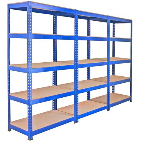 3 racking bays 90cm warehouse shelves storage garage