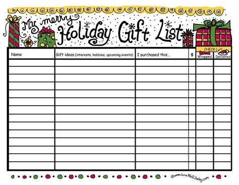 free printable gift list template 6 best images of free printable gift list
