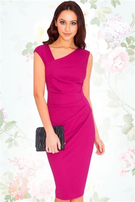 Pm Fushie Dress Fn 50s myra pencil dress in magenta