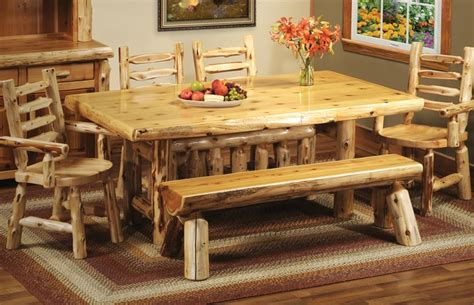 cottage cedar log dining table 15110 fireside lodge