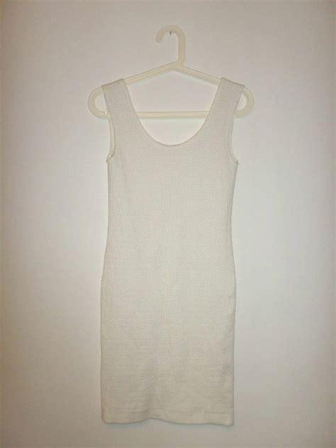 womens vintage bodycon white jersey dress uk 10 80s 90s