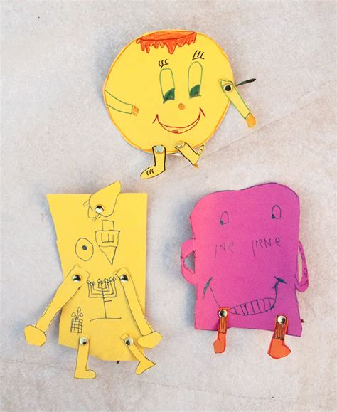 Paper Fastener Crafts - hanukkah characters craft for creative