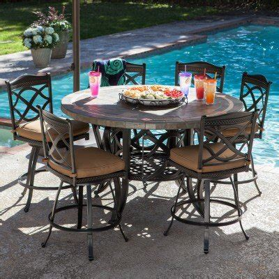 buy heirloom slate outdoor patio dining set 7 pc in