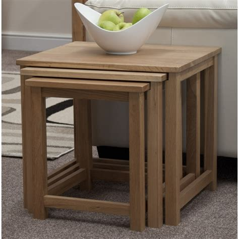 Boston Nest Of Three Coffee Side Tables Solid Oak Living Oak Side Tables For Living Room