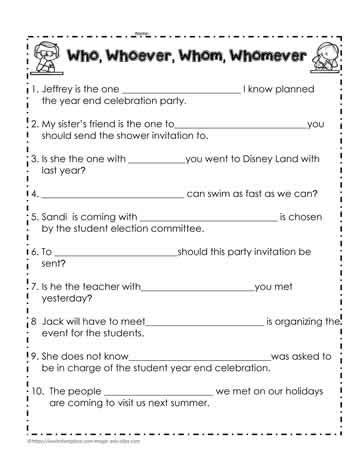 who or whom worksheet worksheets