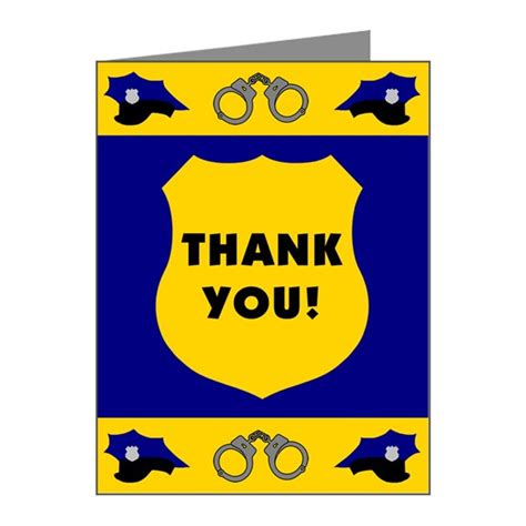 printable thank you card for police officer police badge thank you note cards pk of 10 by policeshop