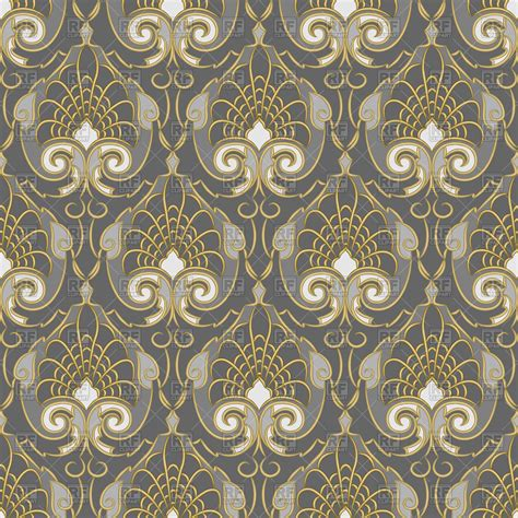 gold vintage pattern seamless vintage pattern with gold ornament on a silver