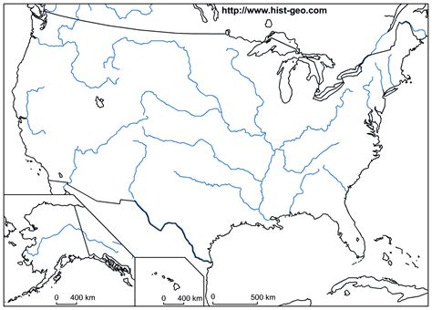us rivers map test blank map of united states printable