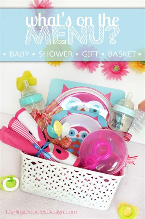 Baby Shower Gift Basket Ideas For Guests - what s on the menu gift basket idea with printable tag