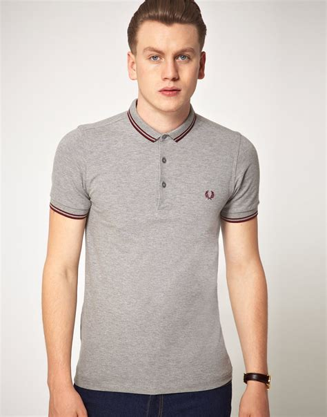 T Shirt Polo Fred Ferry fred perry fred perry slim fit micro collar polo shirt in gray for lyst