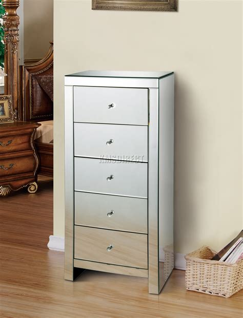 Tallboy Bedroom Drawers Foxhunter Mirrored Furniture Glass 5 Drawer Tallboy Chest