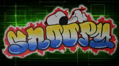 simple snoopy graffiti drawing youtube