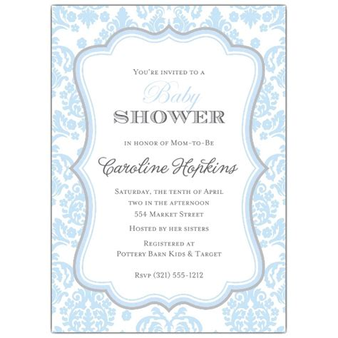 grey and white baby shower invitations damask blue and grey baby shower invitations