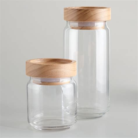 Modern Kitchen Canisters | wood lidded glass jars modern kitchen canisters and