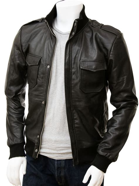 Moutley Jacket s black leather bomber jacket belgrade