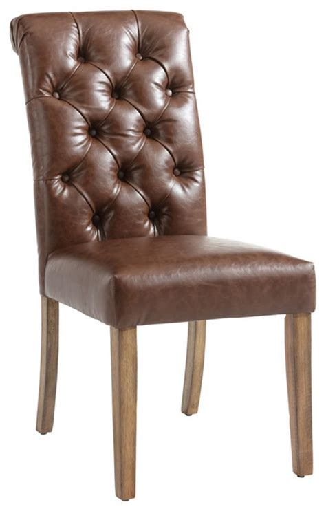 brown leather tufted dining chair faux vintage brown leather button tufted side chair set