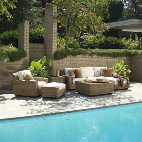 Saddleback Patio Furniture by Woodard Saddleback Wicker Sectional Lounge Set Wc