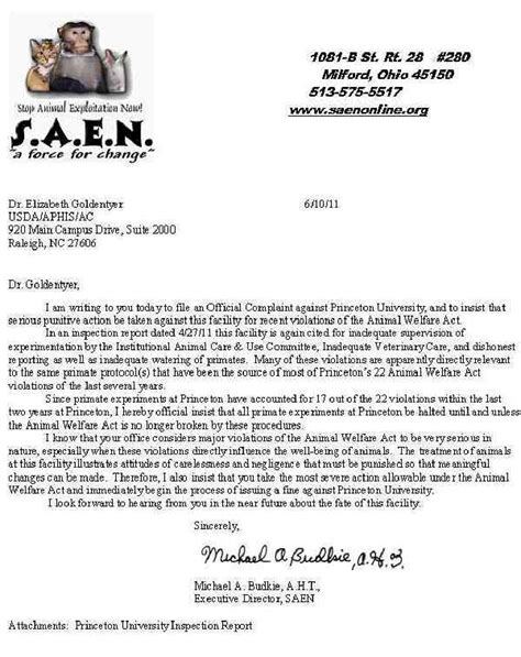 Complaint Letter Veterinarian Princeton Princeton Nj New Jersey Complaint Letter To Usda 6 Jun 2011