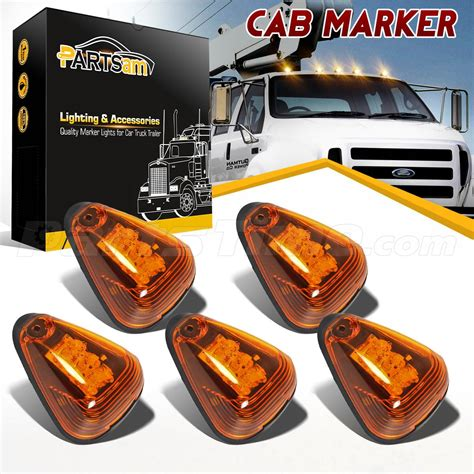 led cab clearance lights set 5 top roof clearance cab markers lights w
