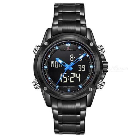 Naviforce Stainless Steel Black Blue naviforce 9050 sports army metal wrist quartz