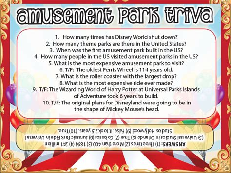 theme park quiz amusement park trivia jamestown gazette