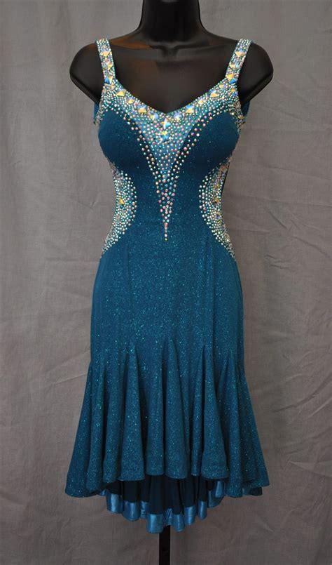 pattern latin dress elegant and sexy teal aqua latin dress