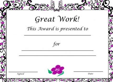 free printable award certificates for kids free