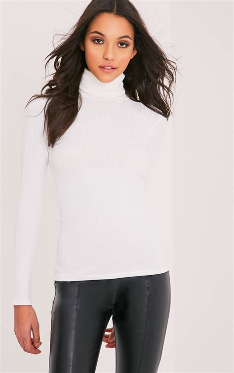 Neck Top high neck tops turtleneck tops prettylittlething