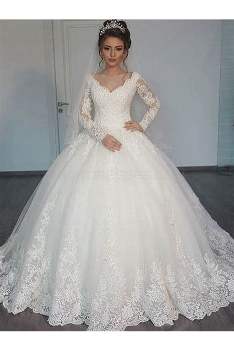 bridal ball gown  neck lace long sleeves wedding dresses