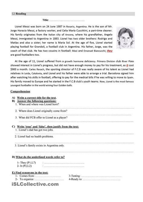 reading comprehension test intermediate esl reading comprehension for esl students intermediate efl