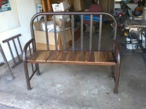 repurposed twin bed frame into a bench cabin ideas