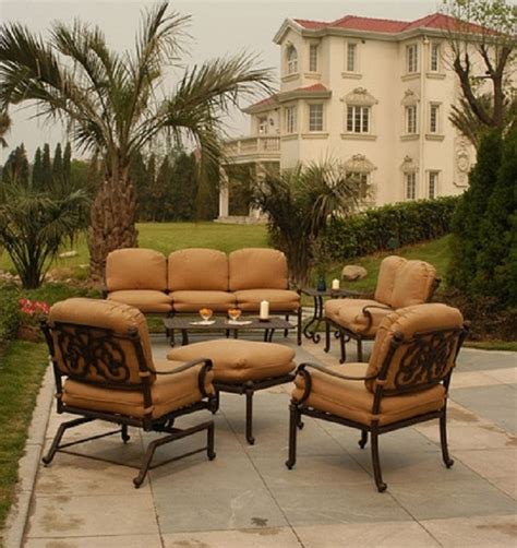 st augustine patio furniture st augustine by hanamint luxury cast aluminum patio furniture 7 person seating set