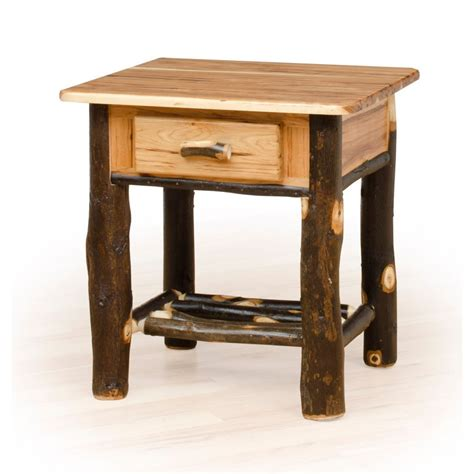 Rustic Nightstands Rustic Hickory Oak Nightstand 1 Drawer Furniture
