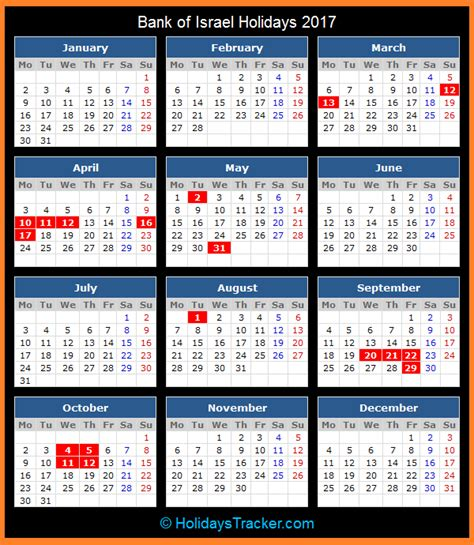 Israel Calendar Bank Of Israel Holidays 2017 Holidays Tracker