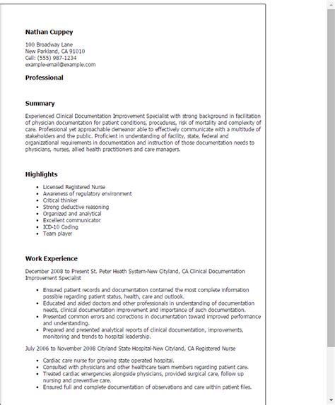 Clinical Documentation Specialist Cover Letter clinical documentation improvement specialist resume template best design tips myperfectresume