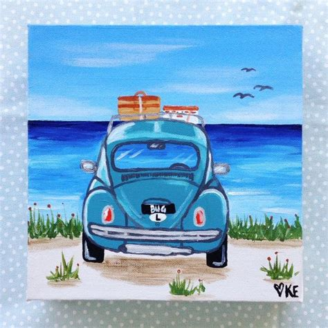 volkswagen painting vw beetle surf 8 x 8 original painting